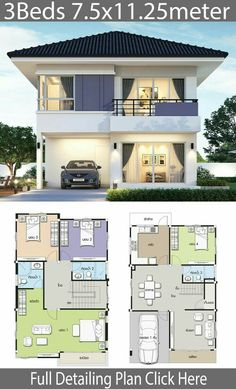 haus design House design plan with 4 bedroom. Style ContemporaryHouse description:Number of floors 2 storey housebedroom 4 roomstoilet 3 roomsmaid's room House Layout Plans, Duplex House Plans, House Layouts, Small House Plans, House Floor Plans, Simple House Design, House Front Design, Modern House Design, Home Building Design