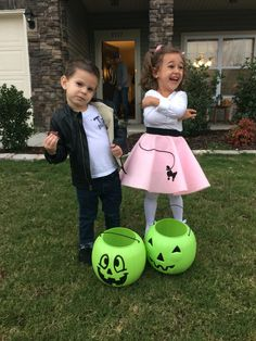 Cole and Rylie as Danny and sandy from Grease. toddler Halloween costumes