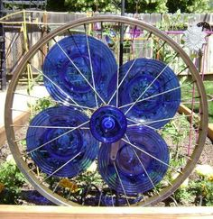 Marie's cobalt garden crafts Glassy blue bike rim