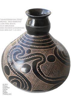 "KahKeeBinAyahTeno, ""Red Ribbons"", Caddo Indian Pottery Bottle."