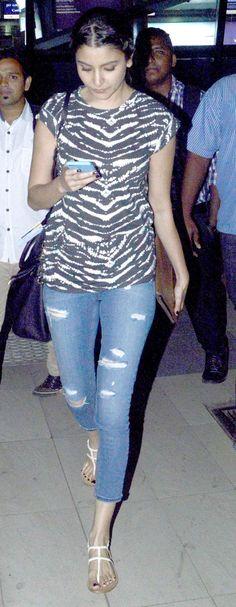 Anushka Sharma spotted at the Mumbai airport.