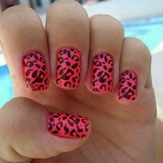 Love these bright cheetah nails!