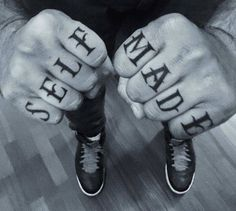 Self Made knuckle tattoo. Tattoo artist: Simone...