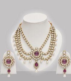 Purple Jewelry Set With Stones & Pearls