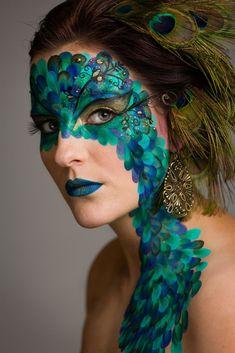 fantasy make-up / facepaint / peacock  (mua: Karolien Olaerts) #Fantasymakeup