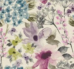 Floretta Spring - New Range 2016 Roman blinds Purple Roman Blinds, Spring New, Soft Furnishings, Print Patterns, Berries, Upholstery, Curtains, Prints, Painting