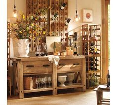 Riddling Rack. Saw something similar in a great urban restaurant, and now I'm in love with the design/function. What a great way to recycle bottles and use as art!
