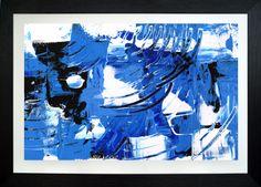 Błękitno mi - więcej chyba nie trzeba dodawać. Akryl na papierze. w ramie drewnianej z Passe-Partout, plexi przeźroczyste zabezpieczające obraz. Obraz gotowy do powieszenia(zamocowane haczyki).  #obrazy_abstrakcyjne #malarstwo_abstrakcyjne #abstrakcja #sztuka_abstrakcyjna