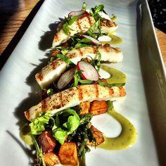 #tgwh Grilled Calamari, crispy potato, roasted broccolini, jalapeño emulsion