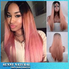 65.00$  Buy here - http://alit21.worldwells.pw/go.php?t=32652637221 - New Wholesale Sexy Silk Straight Dark Root To Pink Ombre Hair Wig Synthetic Lace Front Wig Top High Quality Women Ombre Lace Wig 65.00$