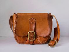 Vintage large tooled leather bag by Tomorrownever on Etsy, $45.00