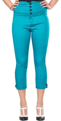 STEADY ANCHOR CAPRIS TEAL Grab yourself a pair of sea worthy bottoms for your next adventure! These teal high waisted capris from Steady feature a 4 button waist, bow detail at the leg, and embroidered anchor back pockets. $58.00 #steady #capris #anchor #nautical #highwaist #retro #pinup #teal