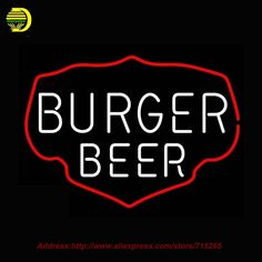 Burger Beer Neon Sign Neon Bulbs Sign Glass Tube Lamp Handcrafted Decorate Garage Advertise Neon Lichtbak Arcade Signs VD 17x14 #Affiliate