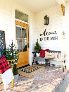 A few colorful pillows and little Christmas trees sure added the welcome to our 1890 porch❤️ Farmhouse Mailboxes, Porch Decorating, Holiday Decorating, Christmas Decorations, Christmas Porch, Merry Christmas, House Front Porch, Future House, Sweet Home