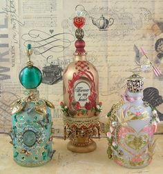 Altered Art Bottles - http://artfullymusing.blogspot.com.au/2013/01/frosting-and-other-decorative.html