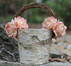 Shabby Chic Flower Girl Basket Rustic Wedding, Birch With Twig Handle, Paper Roses, Rustic Wedding, Shabby Chic Wedding on Etsy, 35,56€