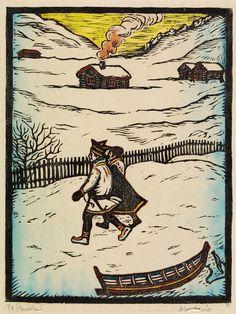 To - Guoktes (farger) - John Andreas Savio - John Savio Scandinavian Folk Art, Lappland, Edvard Munch, Arctic Circle, Christmas Books, Woodblock Print, Norway, Art Projects, Carving
