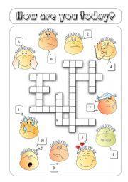 English teaching worksheets: Feelings crossword