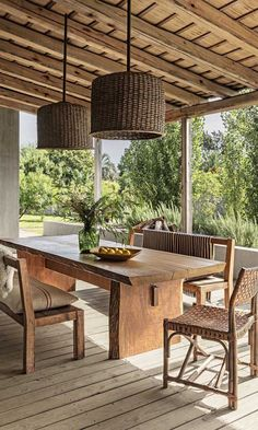 Outdoor: Gorgeous Outdoor Rooms to inspire Summer Entertaining. A home in Garzón, a quaint village near the southeastern coast of Uruguay, features rustic accents, including a pair of pendants and a dining table made of Brazilian wood. Rustic Patio, Rustic Outdoor, Outdoor Decor, Rustic Table, Outdoor Rooms, Outdoor Furniture Sets, Wooden Furniture, Antique Furniture, Furniture Design