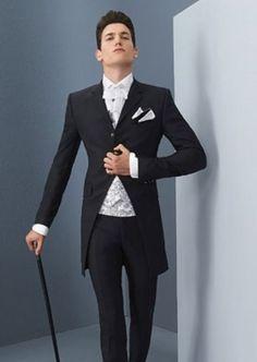 2bd55a8b273e Click to Buy    Italian Style Black Groom Tuxedos Long Blazer Slim Fit. Smoking  Di Nozze Da UomoAbiti Da SposaSmoking ...