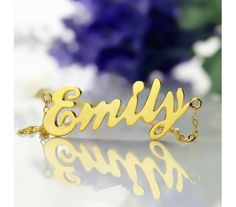 Cursive Script Emily Style Name Necklace In Solid Yellow Gold