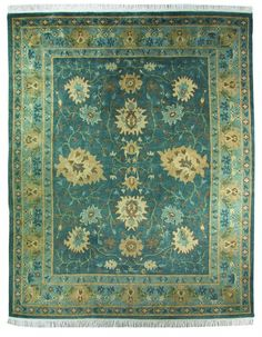 Shinny Green color rug with Royal look