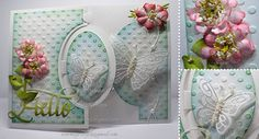 Anita Izendoorn created her card using White 100lb & 85lb Soft Finish Cardsdtock. Anita used Karen Burniston's Oval Pull Card and decorated using Pop it Ups Pull Card Edges and our Lots of Dots embossing folder. Anita placed Susan's Garden Club Garden Notes Zinnia and Cosmos delicately on the card front in addition to Els van de Burgt's Butterfly 1 and Small Butterfly. Els's Jewels 1 add a subtle flourish. Anita finishes the card off with Suzanne Cannon, A Way With Words' Hello.
