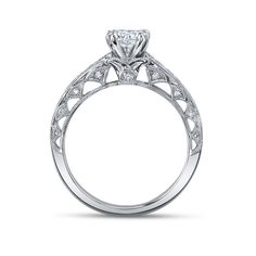Scott Kay Ladies 14K White Gold Diamond Engagement Ring - Only available with Round cut