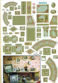 En la revista Miniaturas, en la parte de Detalles, venía este conjunto para hacer un set de escritorio completísimo y muy Shabby. Y así ha quedado, sólo me queda ¡tener el escritorio!!!! Quiero hac…