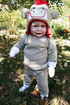Sock monkey costume from repurposed sweater!