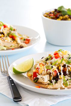 Baked Chicken Tostadas with black beans, corn and salsa