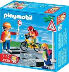 Playmobil 4328 School Set School Crossing Guard With Kids - The Playmobil School Crossing includes a lollipop lady to make sure the children get safely across the road. A little girl waits while the child on his bike is held at the crossing. Price : $10.20