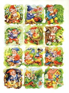 Vintage Die-cut Scrap Gnomes at Play