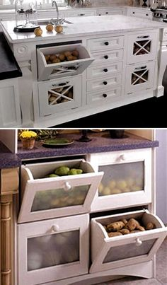 15 Insanely Cool Ideas for Storing Fresh Produce Storing fresh produce correctly and safely is also a great way to save your money and food. Tomatoes, potatoes, garlic, onions and … Diy Kitchen Storage, Kitchen Cabinet Organization, Home Decor Kitchen, Interior Design Kitchen, Kitchen Furniture, Home Kitchens, Kitchen Cabinets, Cabinet Ideas, Small Kitchens