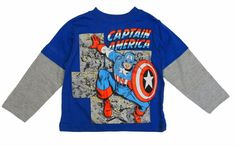 Marvel Captain America Toddler Boys Long Sleeve Graphic T-Shirt  Size 2T 3T 4T #Marvel #Everyday