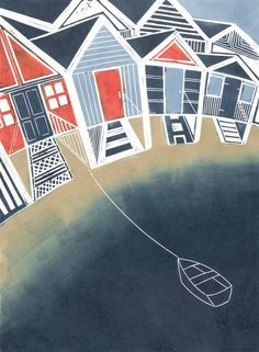 Beach Huts - love this design, colours are nice and boat add dimension Linoprint, Coastal Art, Art Plastique, Woodblock Print, Beach Huts, Printmaking, Graphic Art, Screen Printing, Creations