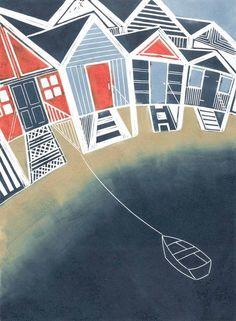Beach Huts Linocut by Tessa Charles