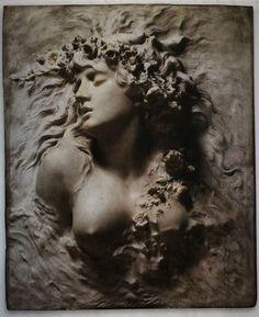 """venatorimago: """" Ophélie, 1880. Relief en marbre by Sarah Bernhardt """" Relief, Beautiful Day, Les Oeuvres, Sculpting, Statue, Black And White, Superstar, Art Nouveau, Artwork"""