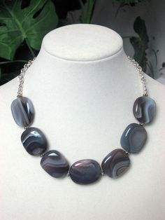 Botswana Agate Necklace - Botswana Agate Bead Necklace - Agate Necklace. $69.00, via Etsy.