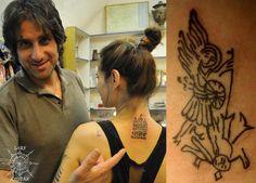 Yasmine's completed tattoo and the archangel Michael fighting the Devil Hair Tattoos, Mini Tattoos, Historical Tattoos, Medieval Tattoo, Fertility Symbols, Christian Tattoos, 80s Hair, Christian Symbols, Symbol Tattoos