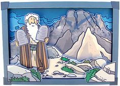 Mozes 10 geboden knutselwerkje 3D Bible craft Moses 10 commentments  3D picture