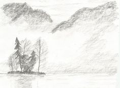 Górskie Jezioro by kajtek21.deviantart.com on @DeviantArt Drawing Sketches, Drawings, Pencil, Snow, Landscape, Outdoor, Outdoors, Scenery, Sketches