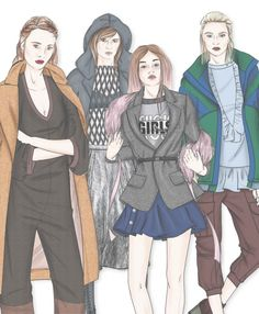 Key look ILLUSTRATIONS for Fall winter 2017-18 Trend forecasting by 5forecaStore