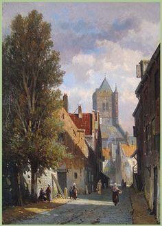 Dutch Street Behind the Church by Adrianus Eversen City Landscape, Landscape Paintings, City Painting, Medieval Life, Dutch Painters, Dutch Artists, Delft, Rue, Love Art