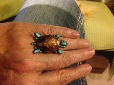 Handmade turtle ring, turquoise and not sure what other stone.