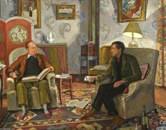 Vanessa Bell. Interior Scene with Clive Bell and Duncan Grant Drinking Wine.