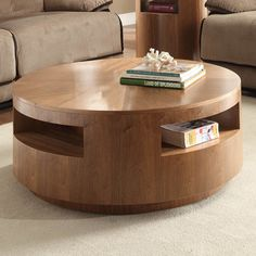 Homelegance Aquinnah Round Cocktail Table with Casters in Walnut - traditional - Coffee Tables - Beyond Stores