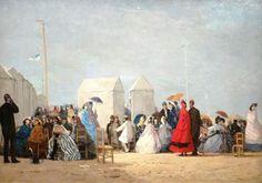 """""""Plage aux environs de Trouville"""", Eugène Boudin, huile sur toile, 1864"""