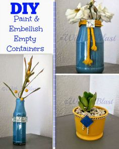 DIY Empty containers with paint etc into lovely vases/potplants #Crafts #Vases