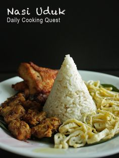 Uduk Betawi - Jakarta Fragrant Coconut Rice Nasi Uduk (savoury coconut rice) from Daily Cooking Quest. One of my favourite ways to eat rice.Nasi Uduk (savoury coconut rice) from Daily Cooking Quest. One of my favourite ways to eat rice. Nasi Goreng, Mie Goreng, Nasi Lemak, Rice Recipes, Indian Food Recipes, Asian Recipes, Cooking Recipes, Indonesian Cuisine, Indonesian Recipes